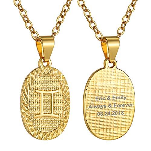 GoldChic Jewellery Geminis Collar Personalizable Mujer Oro Medalla Ovalada Hombre