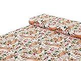 Nadeltraum Baumwoll - Jersey Stoff Waschbär Blumen rosa -