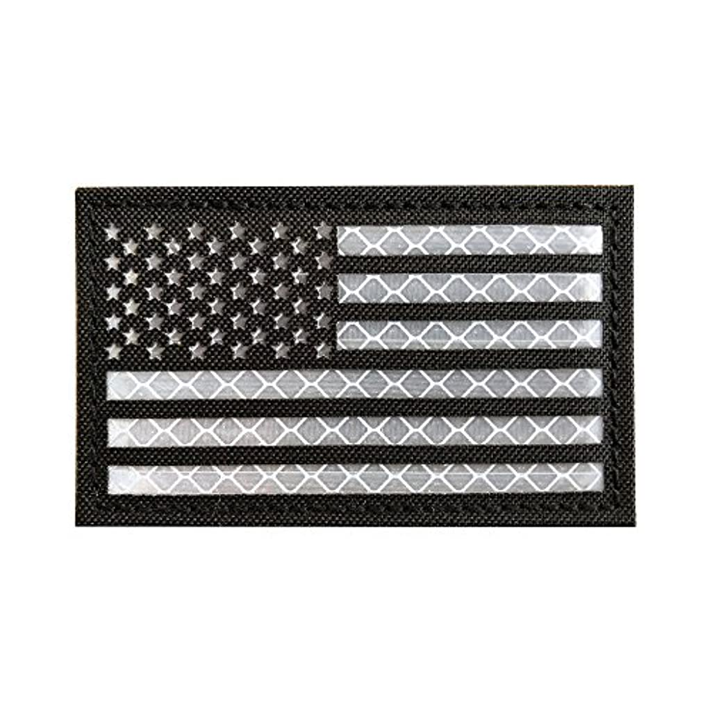 2x3.5 Reflective Black White US USA American Flag Morale Tactical SWAT Patches Hook-Fastener Backing by Baotu (1 Pack)