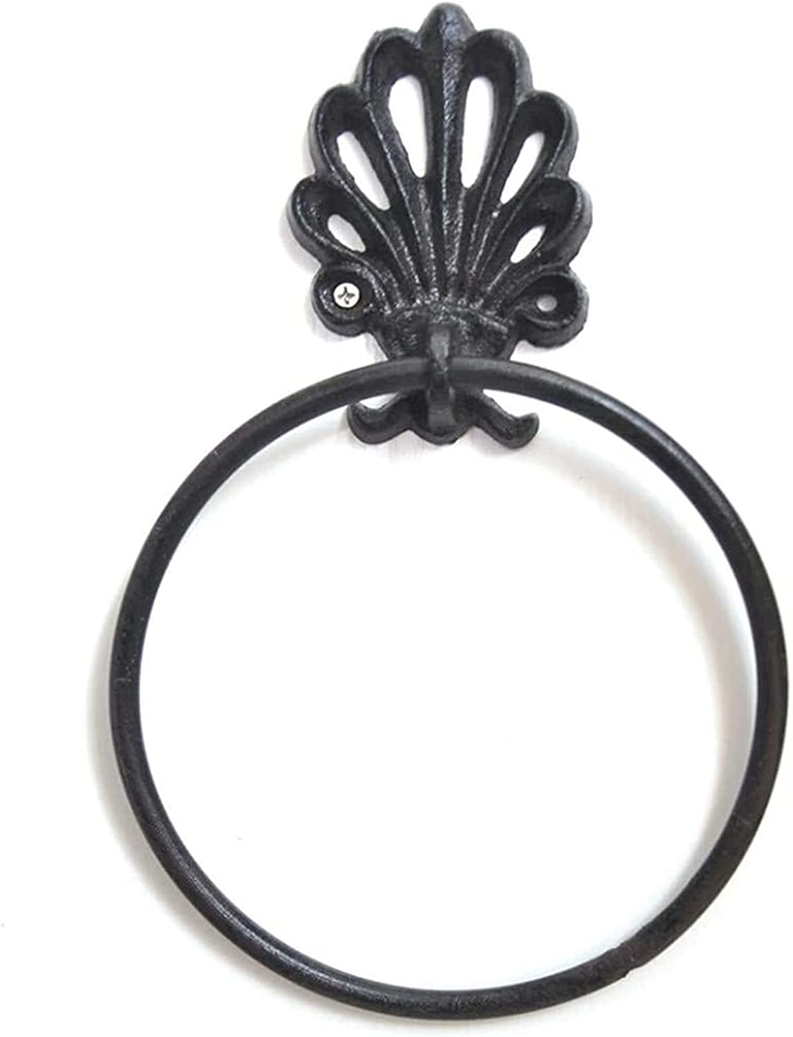 Towel rack Bathroom Ring Wall Inventory cleanup selling sale Black Lowest price challenge I Retro Iron Mounted