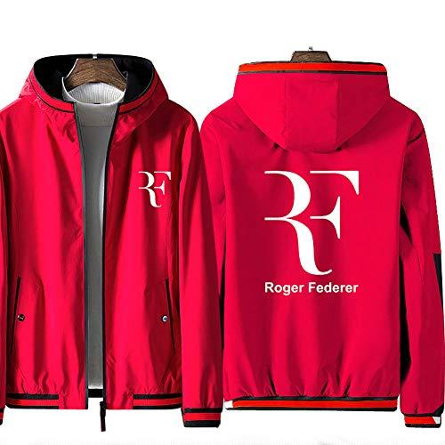 73HA73 Felpa da Uomo con Cappuccio e Zip Tennis Grand Slam Roger Federer Jacket Manica Lunga Confortevole Sweatshirt Unisex Giacca (No Shirt),Red,4XL(180-195cm)