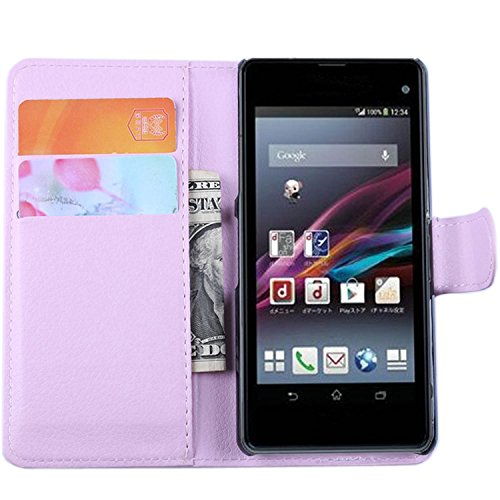 Ycloud Tasche für Sony Xperia Z1 Compact (4.3 Zoll) Hülle, PU Ledertasche Flip Cover Wallet Hülle Handyhülle mit Stand Function Credit Card Slots Bookstyle Purse Design rosa