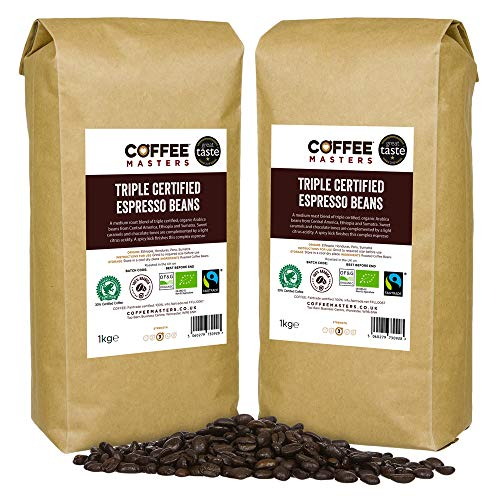 Coffee Masters Triple Certified, Organic, Fairtrade, Arabica Coffee Beans - Great Taste Award Winner 2018