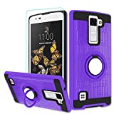 Atump LG K8 V Case, LG K8V (Verizon) Case with HD Screen Protector, LG K8 V Cellphone 360 Degree Rotating Ring Holder Kickstand for LG K8 V (2016)(VS500) Purple