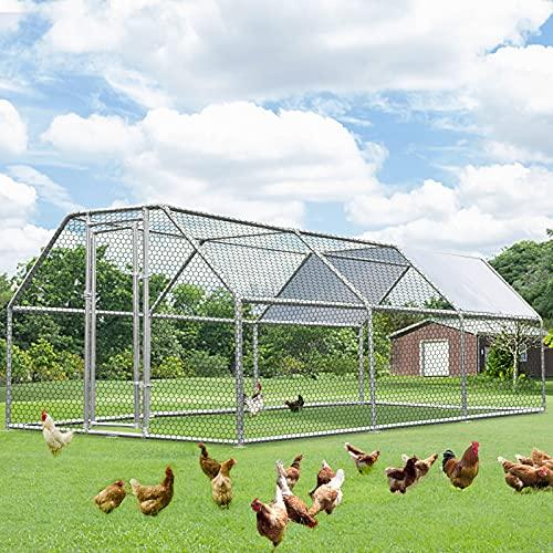 Esright Chicken Playpen Outdoor Large Chicken Coop Walk-in Metal Hen Cage with Waterproof Cover 19' x 9' x 6.5', Backyard Chicken Enclosure