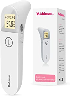 Wohlman Baby Thermometer for Fever, Instant Accurate Reading, Ear and Forehead Thermometer for Baby, Kids and Adults, 4 Modes Easy Switch Digital Infrared Thermometer for Body, Surface, and Room.