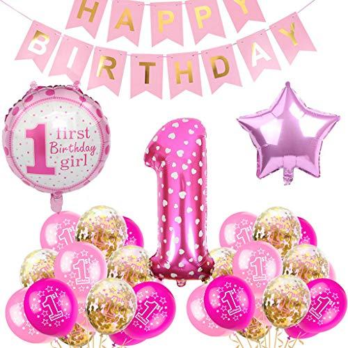 Globo de fiesta de cumpleaños infantil para niñas de 1 año, decoración de cumpleaños para niñas, decoración de 1 globo de cumpleaños, decoración de primer cumpleaños para niñas, globos de color rosa