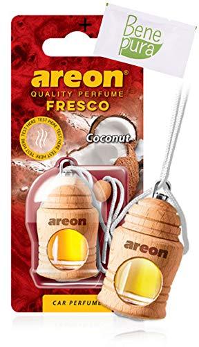 AREON Désodorisant pour Voiture Parfum Fresco 4 ml - Parfum de noix de coco - Diffuseur de Bouteille Suspendue avec Couverture en Bois Naturelle, Longue durée