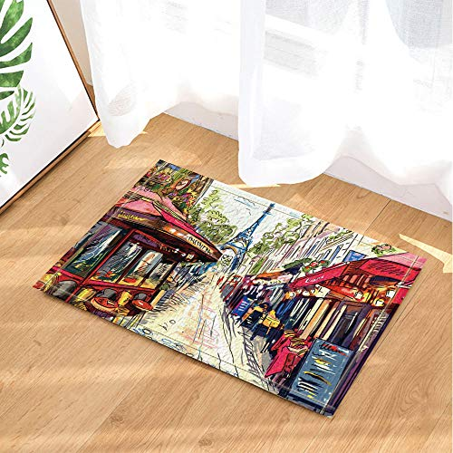 HYTCV Blue Sky, White Clouds, Green Trees, Many Different Shops on The Street, Blue Tower Bathroom mat outdoor indoor non-slip mat