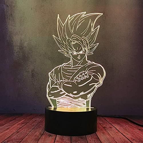 Japón Anime Comic Dragon Ball Series Luz de noche 3D LED Saiyan Prince Vegeta Carga USB Lámpara de mesa Cool Boy Goku Kakarotto Linterna LED Regalo Niño Niño Sueño
