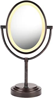 Conair Double-Sided Lighted Makeup Mirror - Lighted Vanity Makeup Mirror; 1x/7x magnification; Oiled Bronze Finish