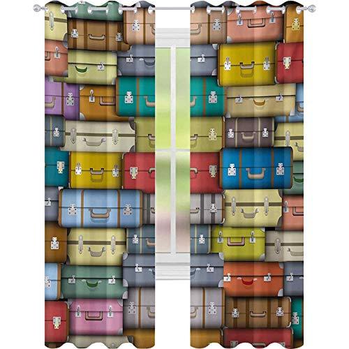 Cortinas opacas con aislamiento térmico, coloridas maletas con fondo vintage para viajes, vacaciones, diseño artístico, 52 x 108, cortinas para sala de estar, dormitorio, multicolor