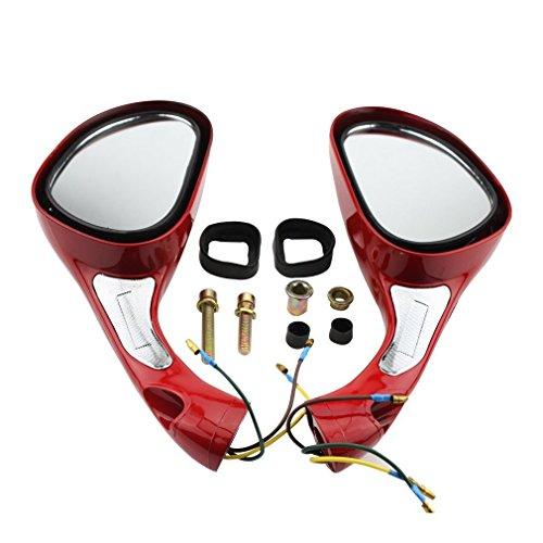 GOOFIT Retrovisor Moto 8mm, Redondos Universales Espejo para GY6 50cc 80cc 125cc 150cc 250cc Ciclomotor Pit Bike ATV Scooter Rojo