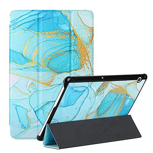 OATE Funda para Huawei MediaPad T5 Smart Cover 10.1 Pulgadas Cárcasa Cuero PU Magnetica Flip Case Soporte Tríptico Tablet Cover con Auto-Sueño/Estela para Huawei MediaPad T5,Pintura de Arena