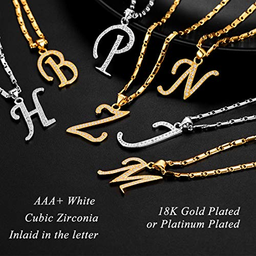 U7 Letter Necklace 18K Gold Plated Cubic Zirconia Iced Out Pendant Monogram Style Initial Necklace, Alphabet U