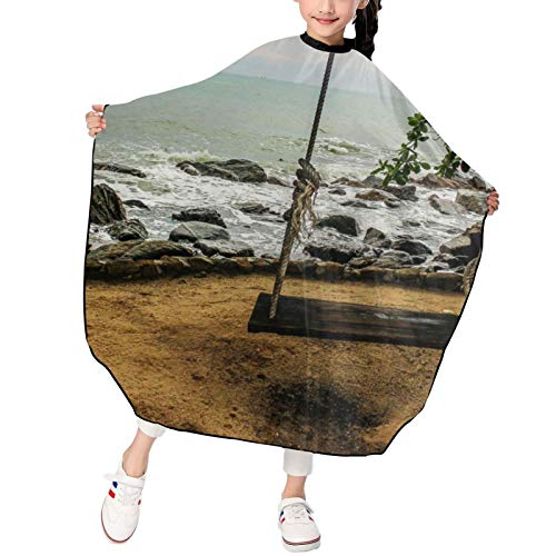 Vacation Beach Summer Tropical Sea Palms Paradise Ocean (7) Kids Haircut Salon Cape Impermeable Cortar Pelo Cape Niños Peluquería Delantal Peluquería Peluquería Corte Cabello Champú Styling Capes
