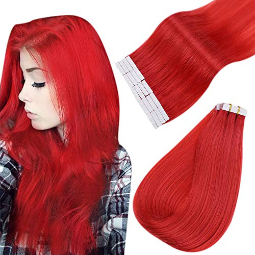 Easyouth Extensions Adhesive Cheveux Naturel Couleur Red Tape in Extensions Hair Extensions Vrais Cheveux Humains 20pouces 25g 10Pcs