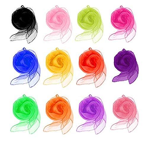 BJ-SHOP dansschaal, jonglier sjaal kleurrijke zijdenshowsjaal voor dans jonglierritme 12 stuks