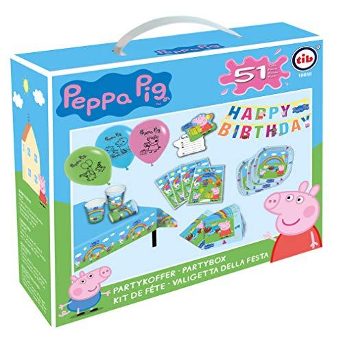 TIB Heyne 19850 - Partykoffer Peppa Pig, 51-teiliges Deko-Set, 6 Teller, 6 Becher, 20 Servietten, 5 Luftballons, 6 Tüten, 6 Einladungen, 1 Girlande, 1 Tischdecke