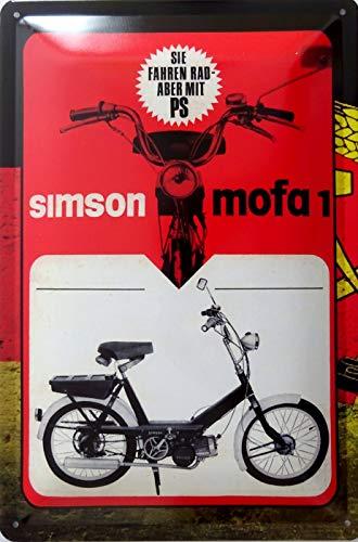 vielesguenstig-2013 Blechschild Schild 20x30cm - Simson Mofa 1 Moped DDR Ostalgie Osten