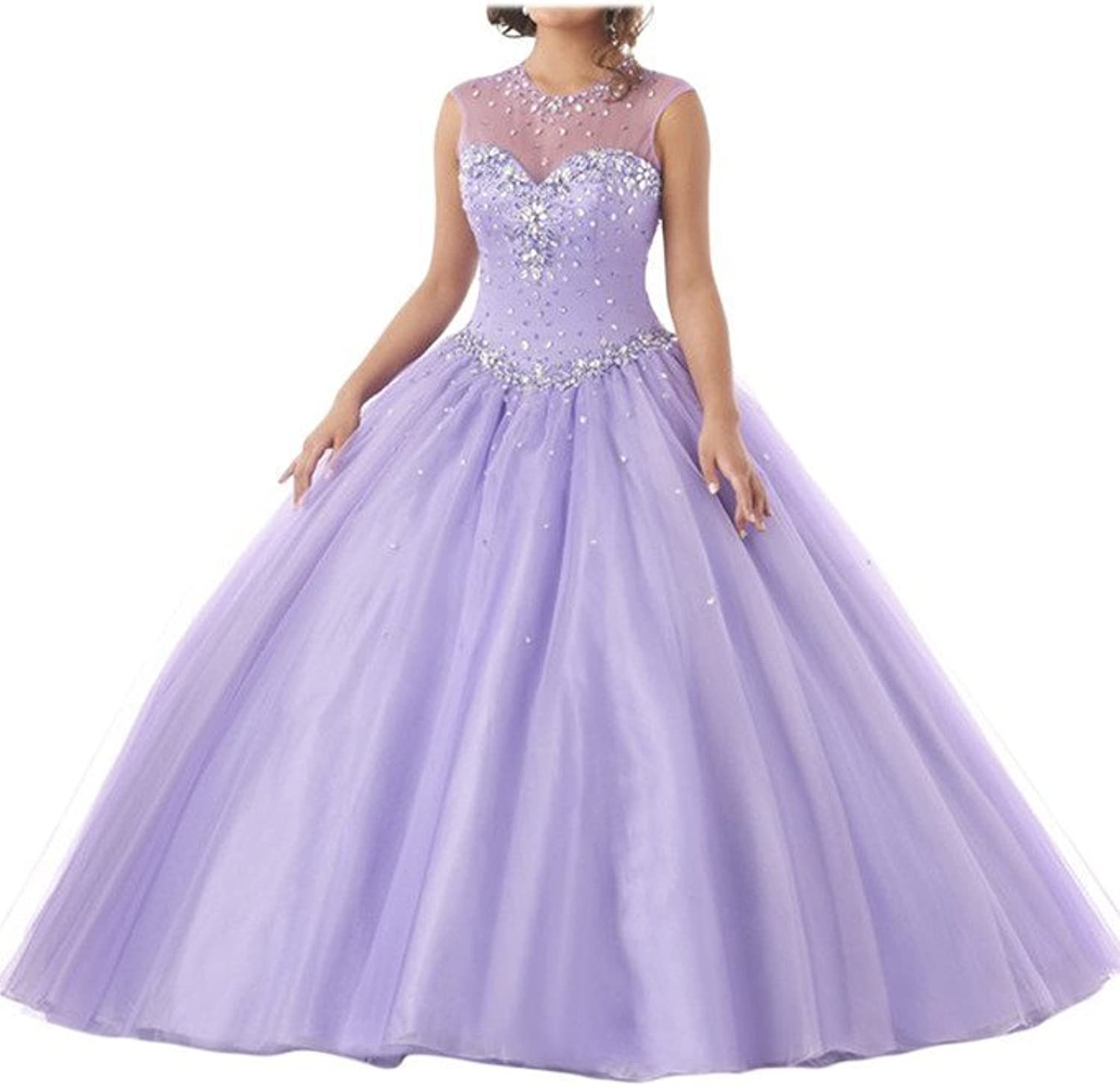 Angel Bride Junior's Jewel Beading Sheer Back Ball Tulle Gown Quinceanera Dress