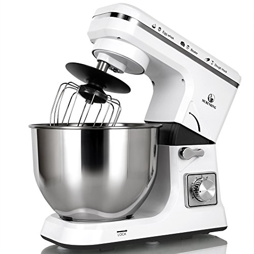 MURENKING Stand Mixer MK36 500W 5-Qt 6-Speed Tilt-Head Kitchen Food Mixer with Accessories (White)
