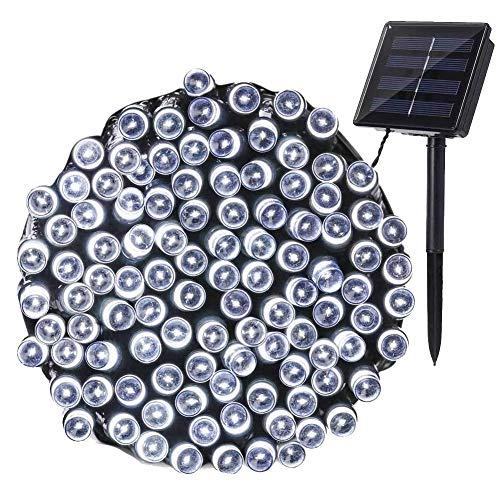 NEXVIN Solar Lichterkette Weihnachtsbeleuchtung Außen, 20M 200 LED Solar Lichterkette Aussen Wasserdichte, 8 Modi Solar Lichterkette Weiß für Weihnachtsbaum, Garten, Terrasse, Balkon Deko