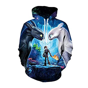 Hiccup Costume HTTYD Cosplay Jacket Halloween Hoodie Night Fury Toothless Pullover for Boys M Blue