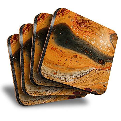Destination Vinyl ltd Great Posavasos (juego de 4) cuadrados, diseño de tinta naranja, pintura artística, bebida brillante, para cualquier tipo de mesa #45942
