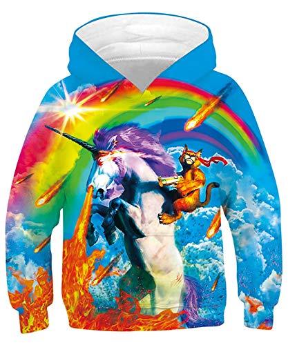 ALISISTER KapuzenpulloverJungen Mädchen Kinder 3D Coole Regenbogen Alpaka Katze Druck Hoodies Sweatshirt Beiläufiger Langarm Hülsen Kinder Kapuzenpulli mit Taschen S