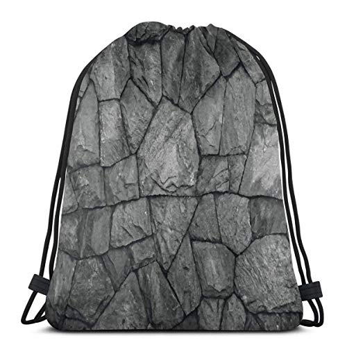 Almost-Okay-Shop Drawstring Backpack Bags Stone Wall Texture Unisex Lightweight Hiking String Storage Sackpack