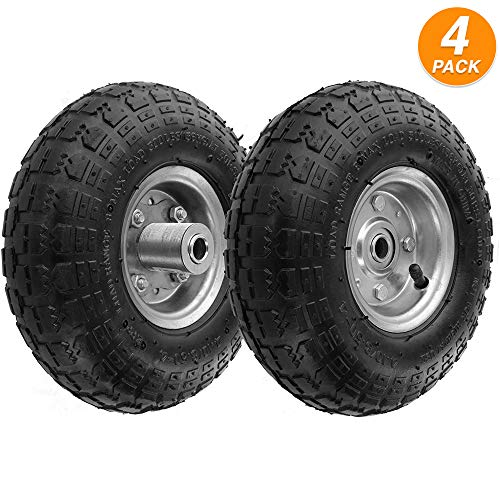 """RamPro 10"""" All Purpose Utility Air Tires/Wheels with a 5/8"""" Diameter Hole with Double Sealed Bearings (Pack of 4)"""