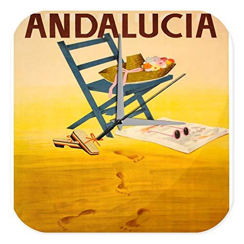 LEotiE SINCE 2004 Wanduhr mit geräuschlosem Uhrwerk Dekouhr Küchenuhr Baduhr Abenteurer Wand Deko Spanien Andalusien Stuhl Hut Sandalen Sonnenbrille Dekouhr Vintage