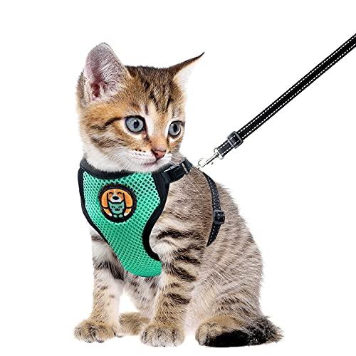 AWOOF Arnés para Gato y Correa a Prueba de Escape, Chaqueta Ajustable para Caminar con Gatito Cat Kitten con Anillo de Correa de Metal, Chaleco Suave y Transpirable para Mascotas pequeñas