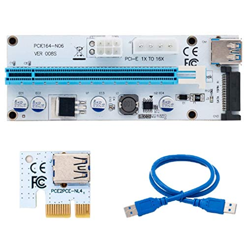 VER008S 3 en 1 Molex 4Pin SATA 6PIN PCIe PCI-E PCI Express Tarjeta Vertical Azul