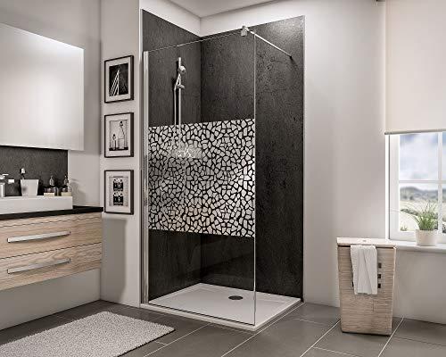 Schulte D249106-F 41 290 Paroi de douche fixe à l'italienne, Walk In anti-calcaire, verre de sécurité décor galets chromés, 90 x 190 cm