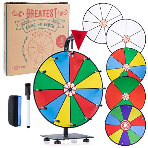 GLWare 12' 5-in-1 Tabletop Prize Wheel - Smooth Spinning Dry Erase Wheel for Game Prizes with 5 Color & White Wheels, Marker Pen & Eraser - Win Fortune Carnival Raffle Games