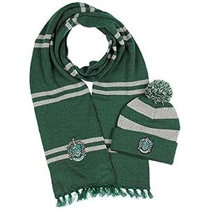 Harry Potter Hogwarts Casas tejer Bufanda Slytherin & Pom Beanie (Slytherin) 7