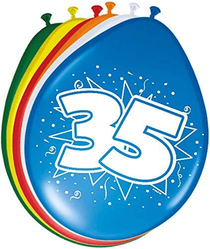 Folat 08223 35. Geburtstag Ballons 30 cm-8 Stück, Mehrfarbig