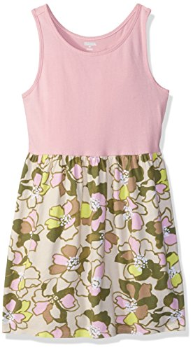 Gymboree Girls' Big Sleeveless Casual Knit Dress, Pink Olive Floral, M