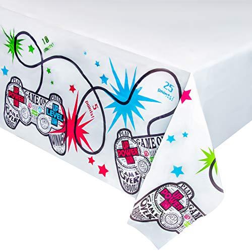 Suministros para fiestas de videojuegos, mantel de plástico (54 x 108 pulgadas, 3 unidades)