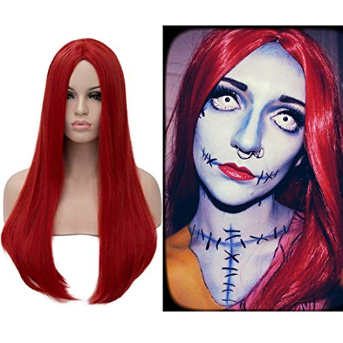 Alacos Red 60CM Long Straight Natural Soft Daily Basic Wig for Women +Wig