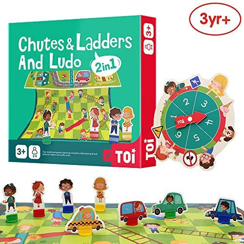 ANIKI TOYS Leiterspiel und Fliegendes Schach Brettspiel - 2in1 Verkehrswissen Schach und Verhaltensgewohnheiten Schach