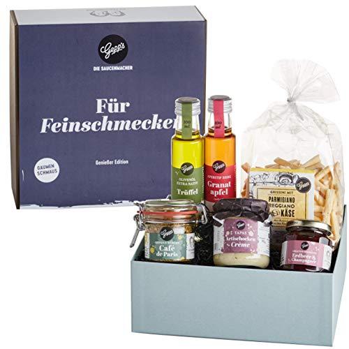 Gepp's Feinschmecker Geschenkset | Feinste Delikatessen wie Trüffelöl und Erdbeer-Champagner Aufstrich, hergestellt nach eigener Rezeptur | Gourmet-Geschenkidee zum Geburtstag (A0004)