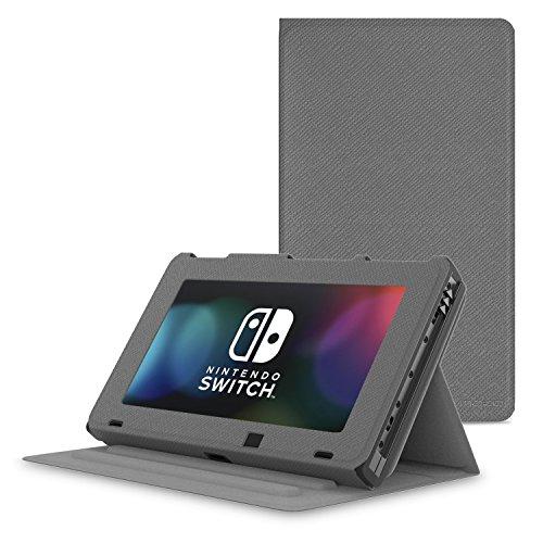MoKo Kompatibel mit Nintendo Switch Hülle, Kunstleder Ständer Schutzhülle Smart Cover mit Stanfunktion für Gaming Switch 2017, Grau