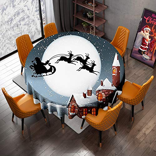 VVA Christmas Round Table Cloth - Santa Claus Sleigh Chimney Snow Christmas Eve New Year Decorative Decor Season Circular Tablecloths for Family Gatherings & Christmas Dinner Decor 60Inch