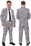 disfraz de dálmata para adultos - Chaqueta de traje con estampado dálmata & pantalones a juego + Lazo negro - Perfecto para disfraces de Halloween y el Día Mundial del Libro (X-Grande)