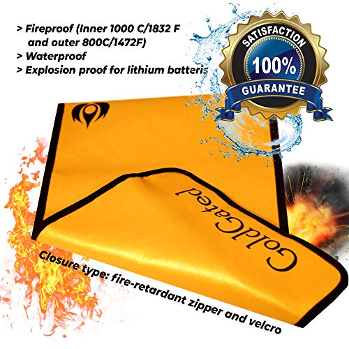 """Fireproof Document Bags Waterproof, Fire Safe Document Holder – 15""""x 11"""" Fireproof & Waterproof Safe Bag, Silicone Coated Pouch for Your A4 Documents, Files, Money & Jewelry, Gold Photo #5"""