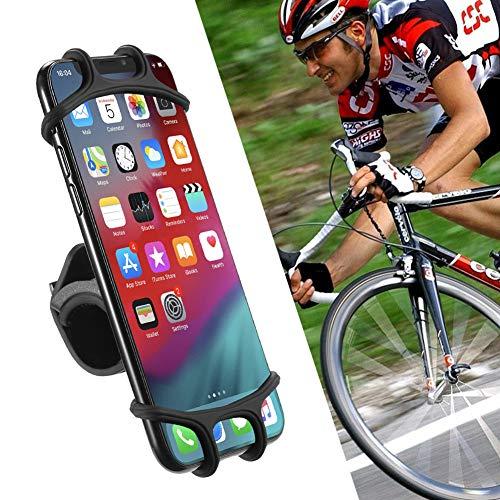 KKCD Soporte para Bicicleta Y Moto para Teléfono Móvil, Soporte Giratorio De Silicona para Bicicleta De Montaña Compatible con iPhone X / 8/8 Plus Sostiene Teléfonos De hasta 3.4'De Ancho