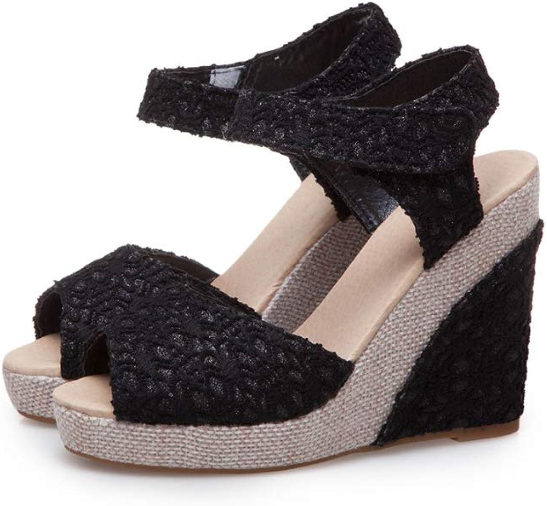 MEIZOKEN Womens Shining Wedge Sandals Ladies Summer Fashion Peep Toe shoes Hook & Loop Platform Sandals